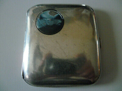 ANTIQUE SILVER 900 CIGARETTE CASE WITH ENAMEL HORSE HEAD BOX 110 g NO PIL BOX
