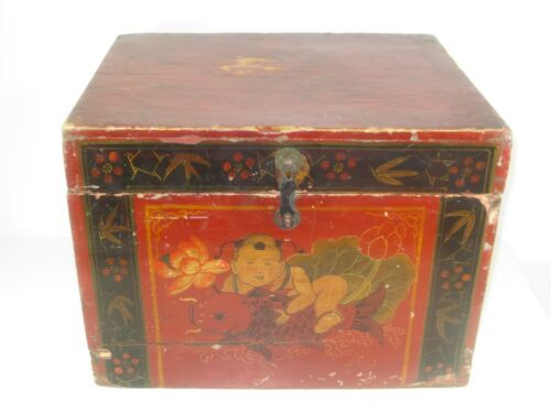 Antique Chinese Wooden Storage Chest Hand Painted Late 19th Century