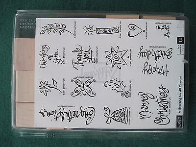 Stampin Up - A GREETING FOR ALL REASONS Holidays 14 rubber UNMOUNTED Wood stamps