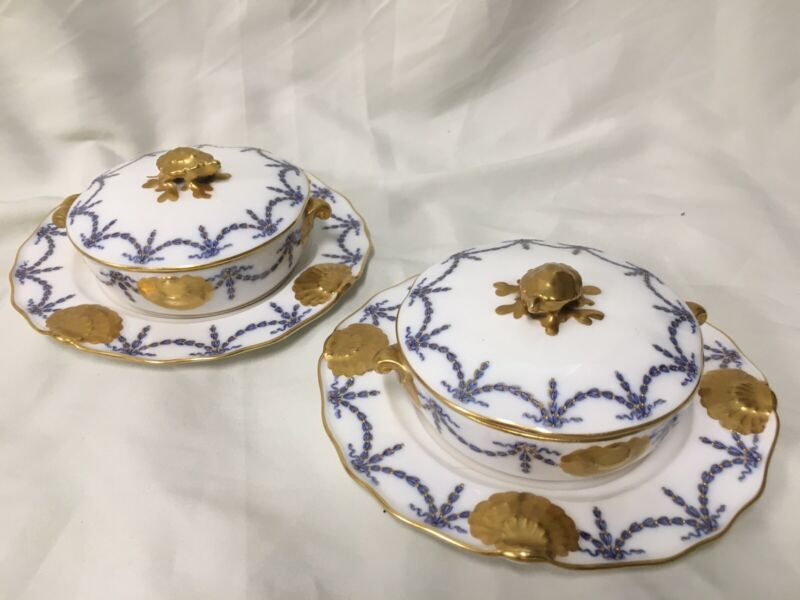 (2)  Royal Worcester for Tiffany COVERED CREAM SOUP BOWLS w/Turtle & Heavy Gold
