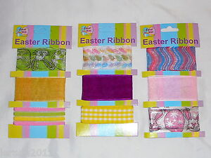 PACK-OF-EASTER-RIBBON-BONNETS-DECORATING-ARTS-CRAFTS-RABBITS-EGGS-CUTE-FABRIC
