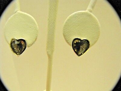 JTV SMOKEY QUARTZ HEART STUD EARRINGS