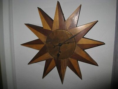 Gorgeous 12-points Arts & Crafts Wood Starburst 8-day Windup Wall Clock UNIQUE