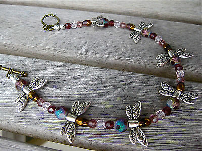 "DRAGONFLY ANKLET 9.5""  SHOE JEWELRY purple beads"