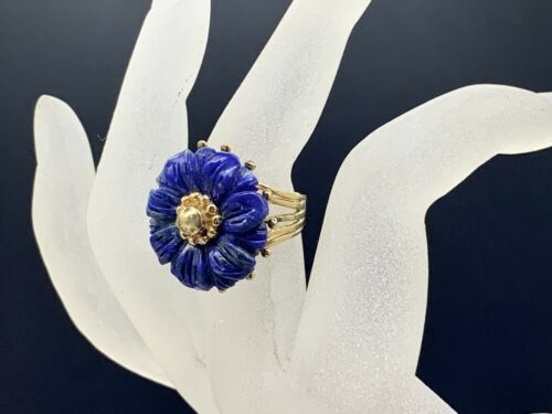 VINTAGE STERLING SILVER CARVED LAPIS STONE FLOWER RING SIZE 7 GOLD PLATED