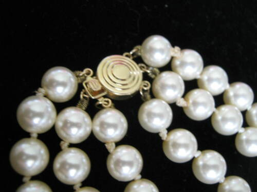 """14K Yellow Gold Safety Clasp """"Ugi"""" w/ Triple Strand 8mm Pearls, 21"""" to 23"""" Long"""