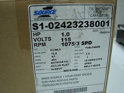 Source 1 - F48l54a50 Blower Motor 1 Hp 1075 Rpm 3spd 1ph 115v 60hz