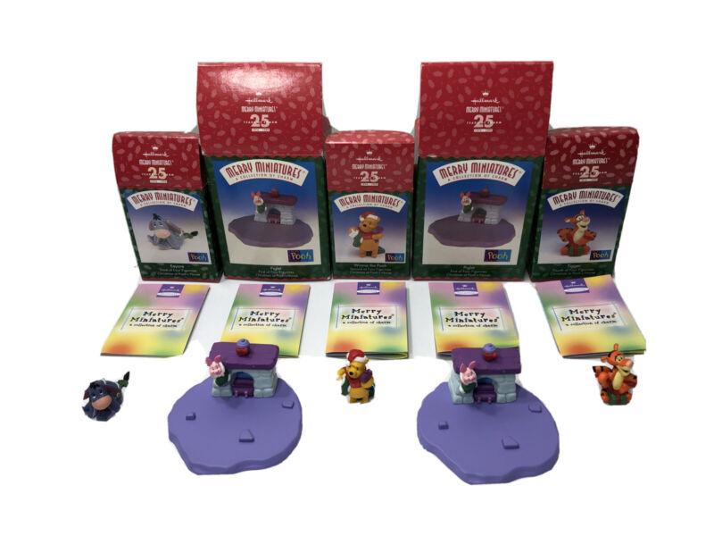 Hallmark Merry Miniatures 1999 Disney Set Of 5 Winnie the Pooh Ornaments Ex Cond