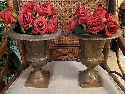 Pair of Vintage Rustic Brass Bronze Metal NeoClassical Urn Vase w/Free Roses!