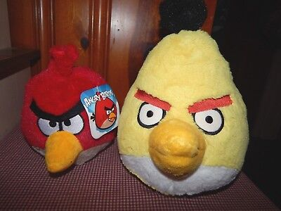 """Angry Birds Yellow Bird 10"""" (not for retail sale) Plush 5"""" Red Bird  W/Tag"""