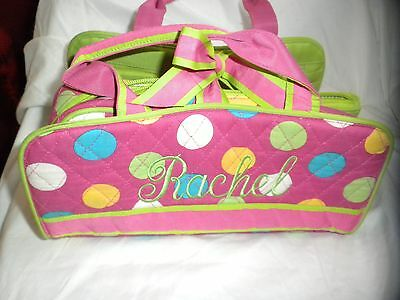 BELVAH BRAND PINK MULTI POLKA DOT MAKEUP BAG WITH NAME RACHEL ()