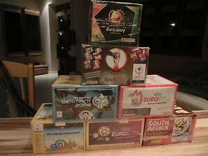 7 x PANINI BOX EURO WM 2002 2004 2006 2008 2010 2012 2014 = 650 sealed packs