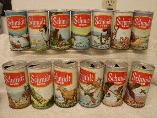 (13) SCHMIDT BEER YELLOW STRIPE SEAM 12 OZ. P/T SPORTS WILDLIFE SCENE CANS ST. P