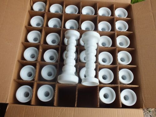 FULL CASE of 36 Anchor Hocking Style W1067 White Milk Glass Candlestick Vases