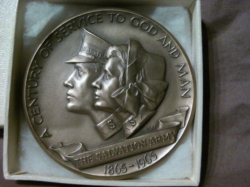 SALVATION ARMY 100th ANNIV COMMEMORATIVE BRONZE MEDALLION 1865-1965 MEDALLIC ART