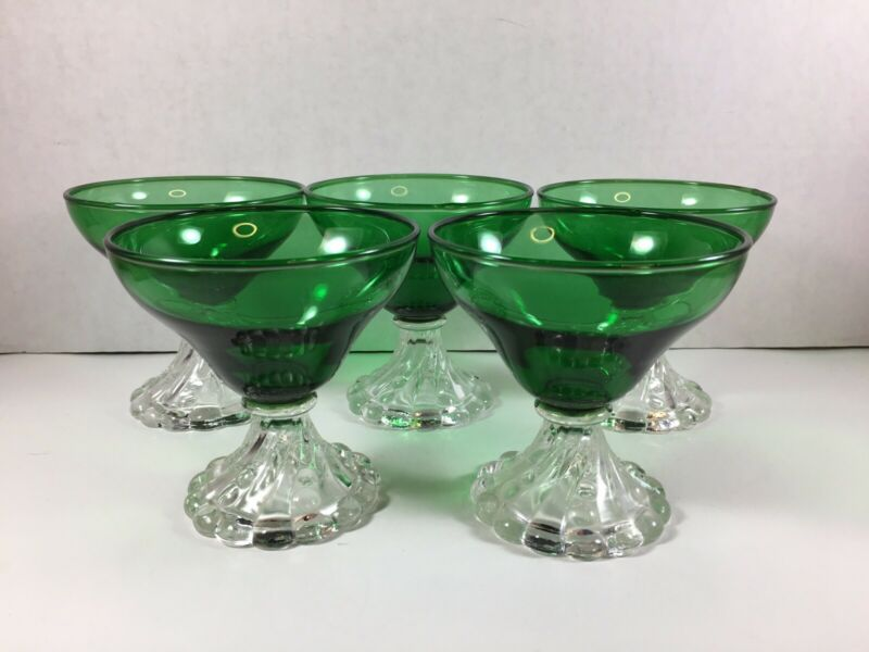 Anchor Hocking Forest Green ~Set of 5~ Boopie Bubble Champagne Sherbet Glasses