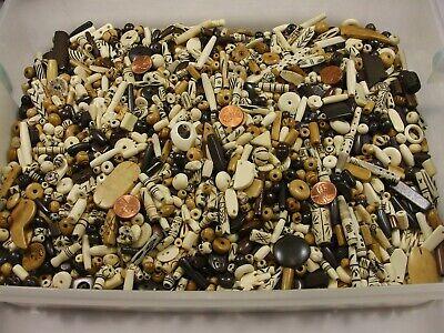 4 Pounds Assorted Water Buffalo Bone Beads / Scrap Pieces / Left Overs Bulk (Z4)