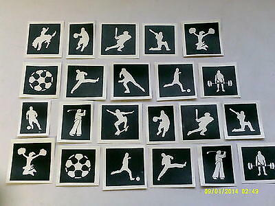 10 - 100 Olympic Sports themed stencils (mixed) for etching on glass - Olympic Themed Crafts