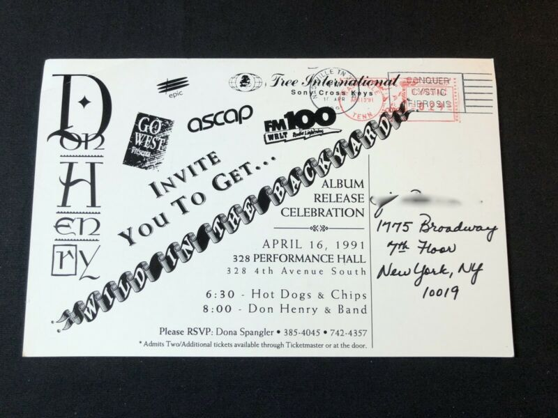DON HENRY 1991 ALBUM RELEASE PARTY INVITATION - $15.00