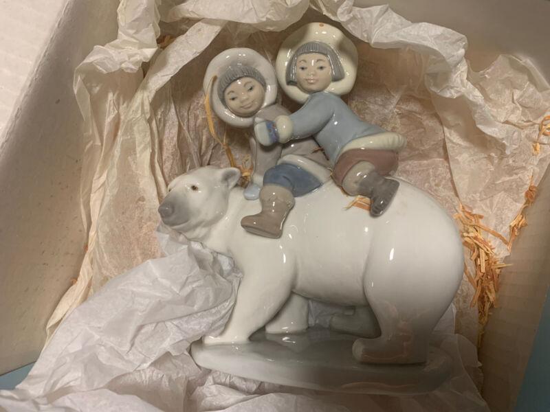 "Lladro ""Eskimo Riders"" Figurine #5353 - On Polar Bear - excellent with box"