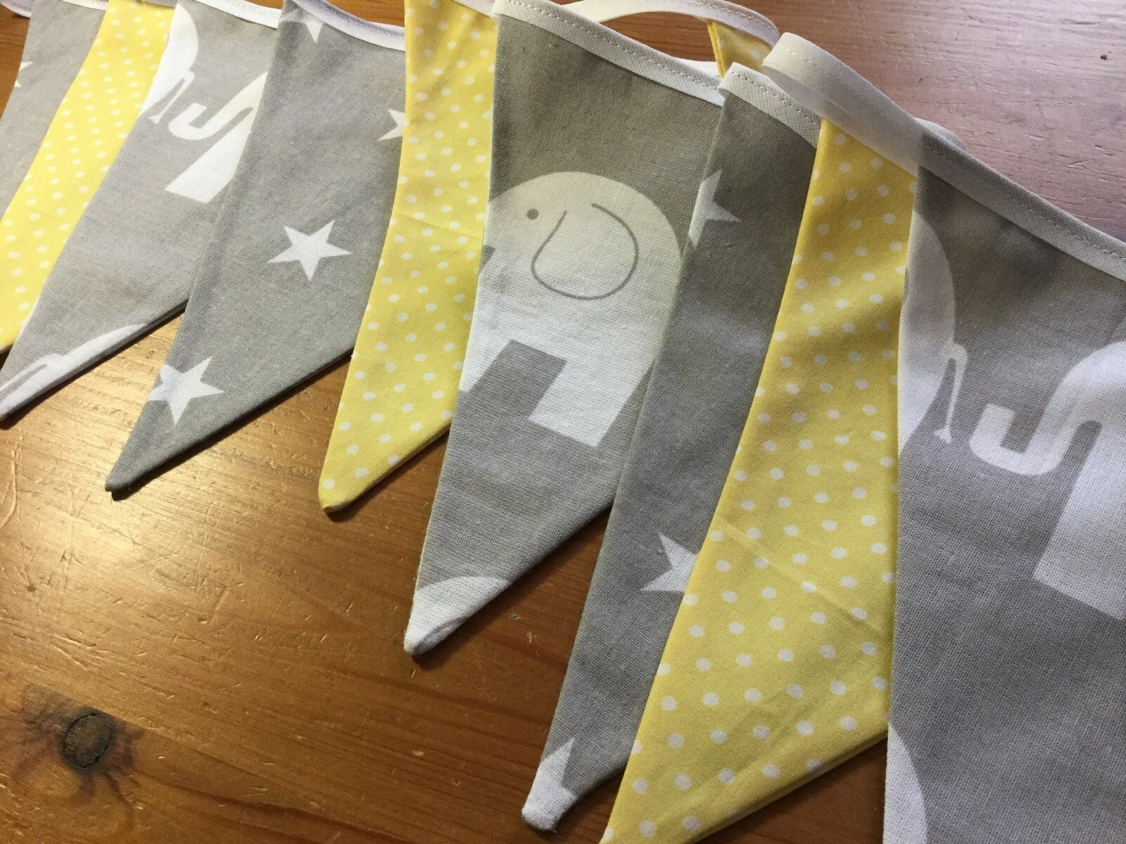 Grey elephant yellow nursery handmade fabric bunting baby for Yellow nursery fabric
