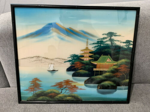 Vintage Asian Chinese Signed Mountain Landscape Painting on Silk