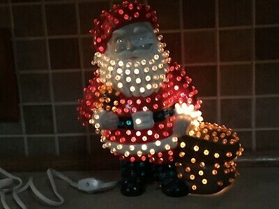 "Vintage Ceramic Santa Claus Light Up 10"" Christmas Winter Lamp Twist Bulbs"