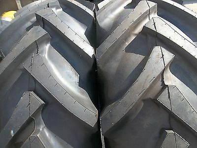 Two 16.9x24 Ford John Deere 8 Ply R 1 Bar Lug Tube Type Rear Tractor Tires