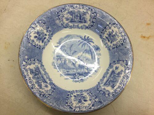"Ridgway Blue Transfer Staffordshire Oriental Bowl 6 1/4"" Gold Edge"