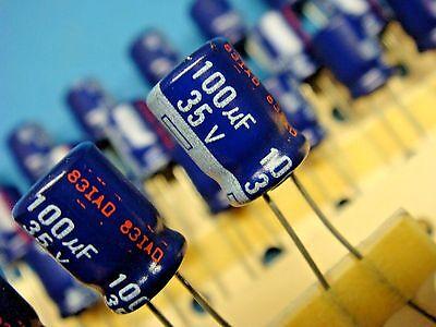 - (50) PANASONIC ECA1VM101 100uF 35V 85° RADIAL ALUMINUM ELECTROLYTIC CAPACITOR