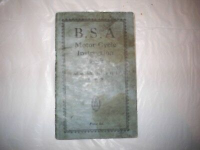 BSA Motor Cycle Instruction Book for all models 1930-1936. Illustrated