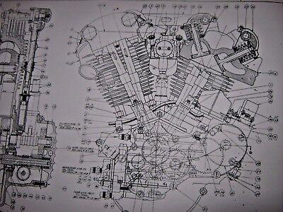 Harley Knuclehead Engine Technical Drawing BLUEPRINT EL Davidson parts print vtg