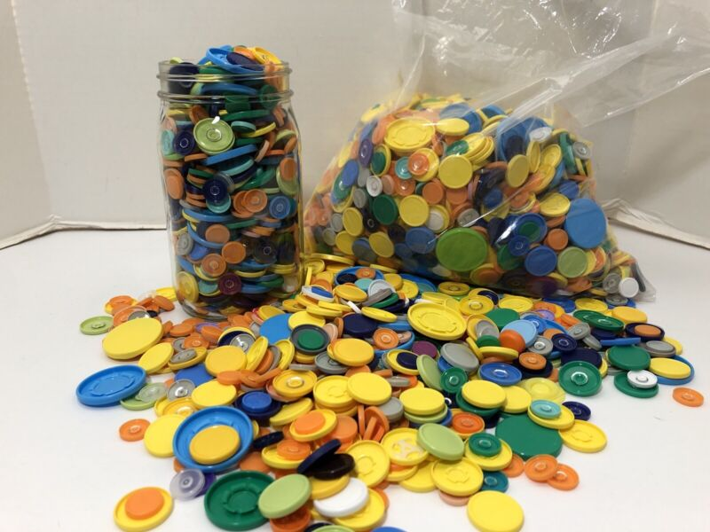 Craft Lot Brightly Colored Plastic Medicine Bottle Caps- 3 Pounds