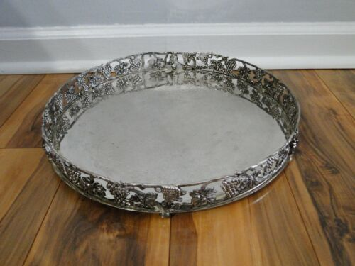 Ornate Godinger Silverplate Footed Raised Edge Tray Grapes & Leaves