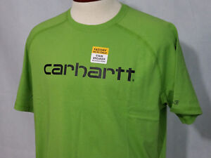 Carhartt Mens casual Work T shirt Tee Force Cotton Green NWT Fast Dry Large 2XL