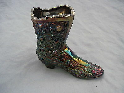 Fenton Amethyst Carnival Glass Boot Shoe Button   Daisy
