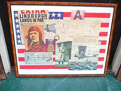 """Framed Charles Lindbergh Collage Print of 'The Spirit of St. Louis."""""""