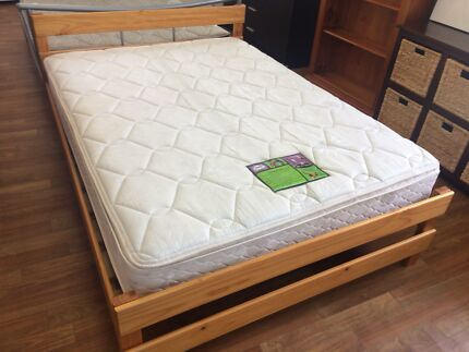 Wooden double bed + Sealy pillow top mattress