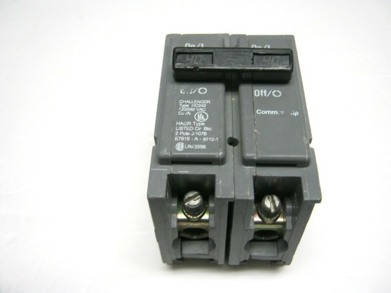 CHALLENGER HC240 2 POLE 40 AMP  CIRCUIT BREAKER CUTLER HAMMER  TYPE HC  ~