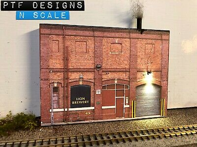 N Scale Brewery Building Flat  🍻 Industrial Front 3D Background w/ LED Walthers