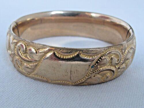"""Antique Victorian Repousse GF Bangle Bracelet 3/4"""""""