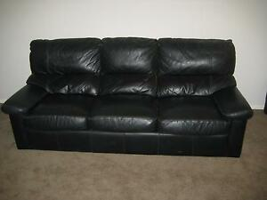 Lounge suite, black leather three piece. Shell Cove Shellharbour Area Preview