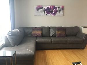 Large grey leather sectional for sale