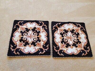 Velvet Tassle Cushion Cover Set Versace Baroque  Style Black Gold Cream