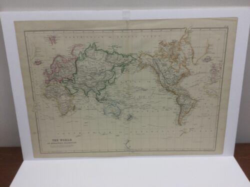 Antique 1860 The  WORLD on Mercator