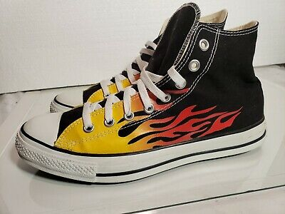 Converse All Star Chuck Taylor Black&White Men's Size10.5 Hot Rod Flame  Version Chuck Taylor Flame