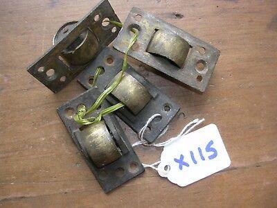 SET OF FOUR ANTIQUE BRASS CASTORS (X115)