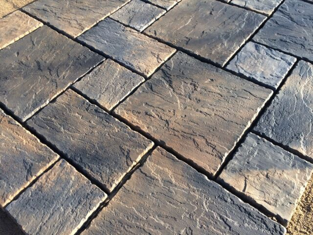 Charcoal Oatmeal Blend York Paving Concrete Patio Slabs 10sqm