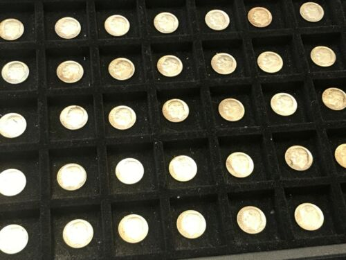 ROLL OF UNCIRCULATED FIFTY (50) 1964 ROOSEVELT DIME COINS 90% SILVER