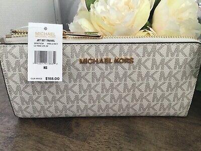 NWT Michael Kors large 3/4 zip purse in Vanilla Logo RRP $188